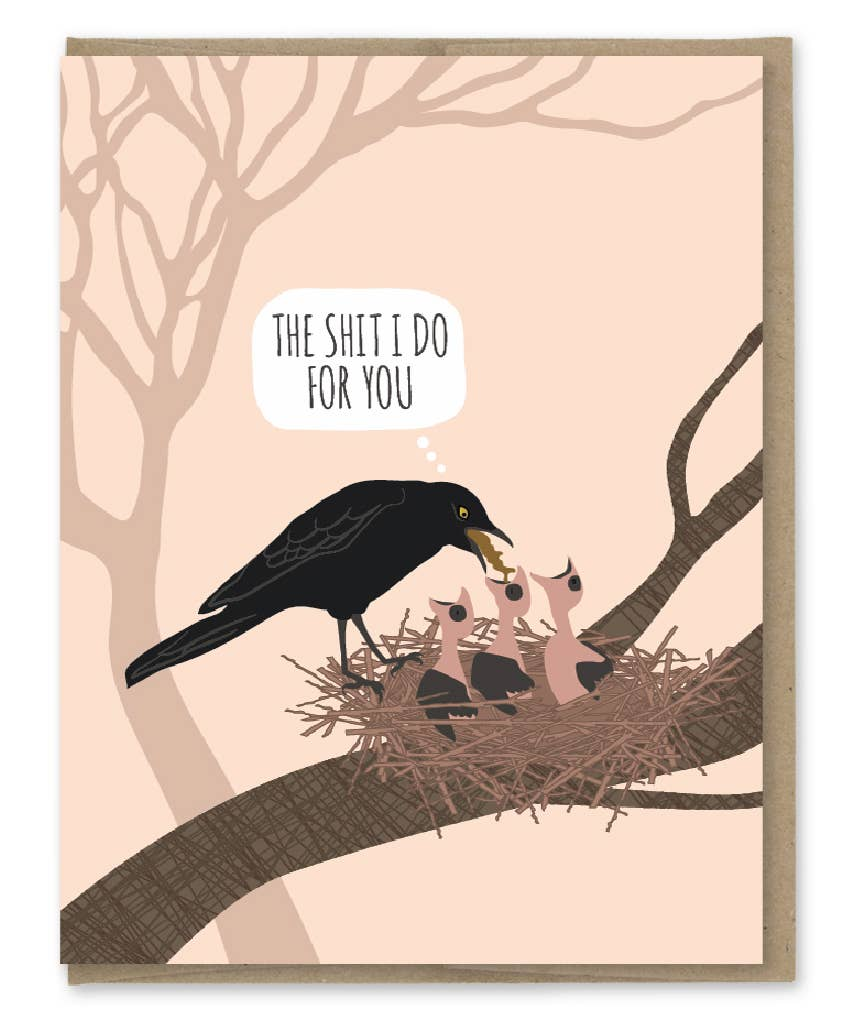 Modern Printed Matter Mom Bird Puke Greeting Card
