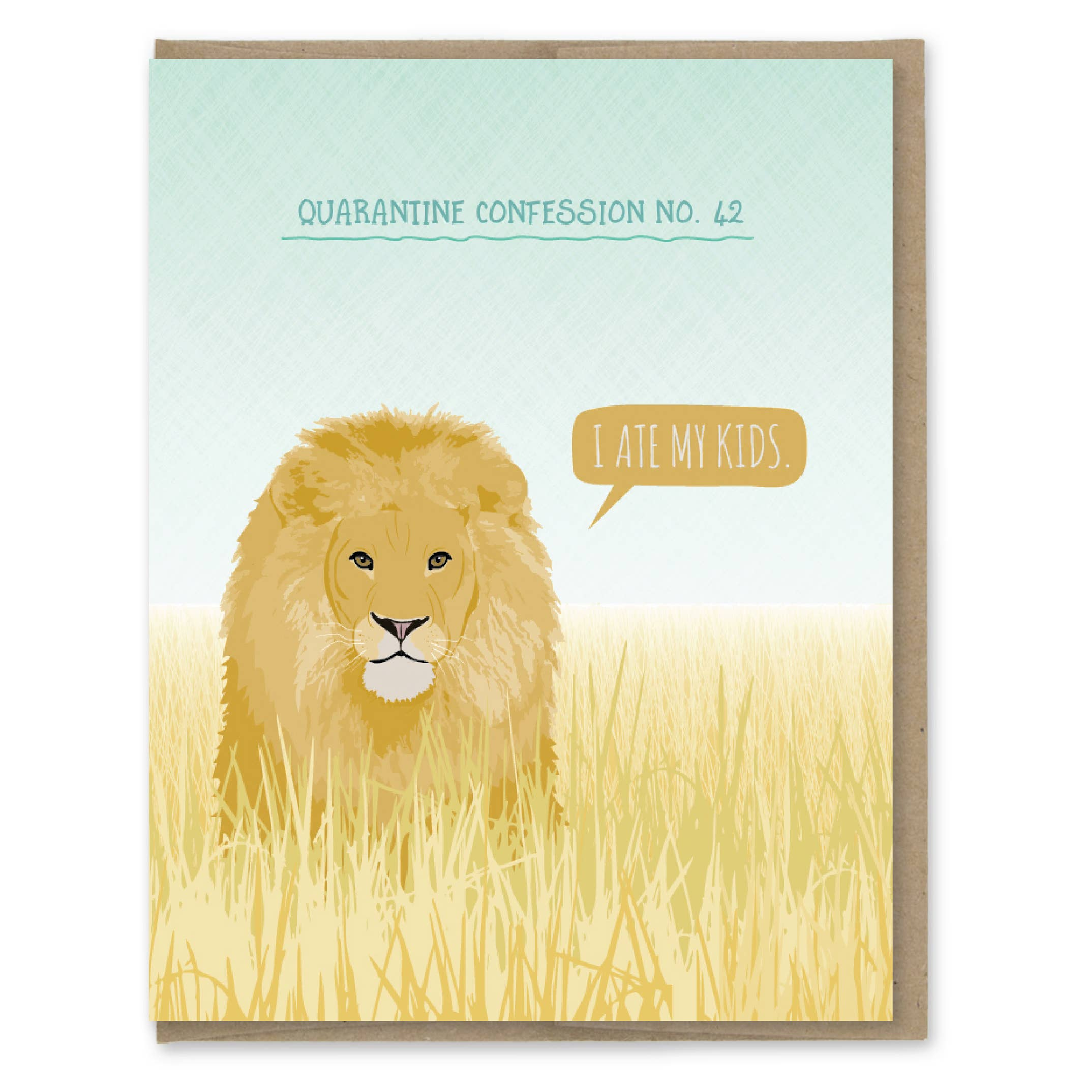 Modern Printed Matter Quarantine Lion Confession Greeting Card