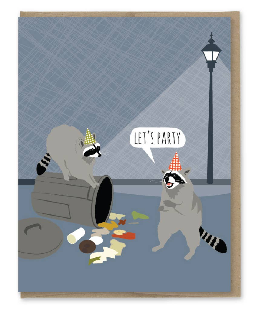 Modern Printed Matter Raccoon Party Birthday Greeting Card