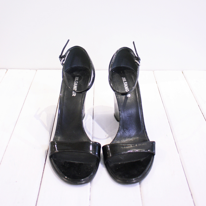 fbeb00619fc Jil Sander Patent Leather Wedge Sandals – Front   Company
