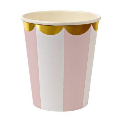 Meri Meri Toot Sweet Pink Stripe Party Cups