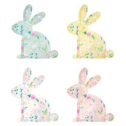 Meri Meri Patterened Bunny Shaped Plates