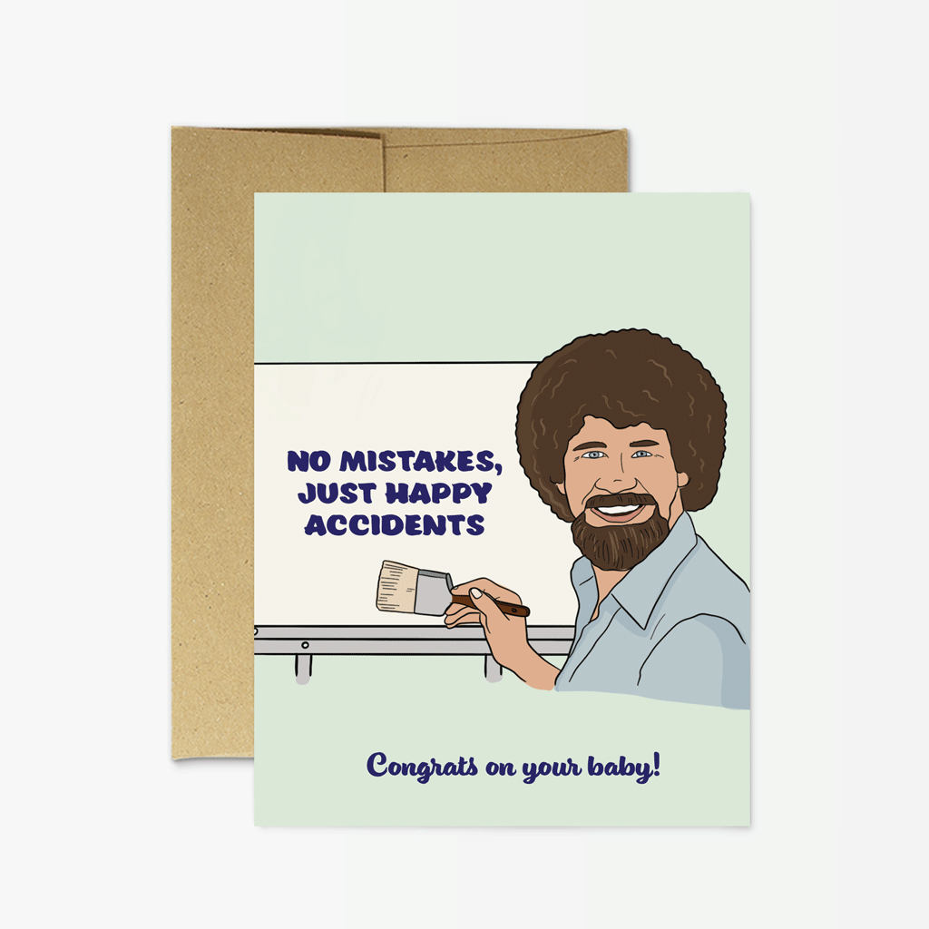 Party Mountain Paper Bob Ross Baby Greeting Card