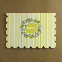 Boxed Baby Stripe Scallop Card