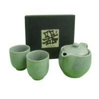 Green stoneware tea set