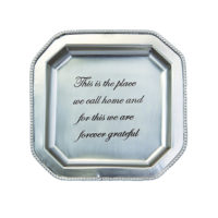 Mud Pie We Call Home Antique Pewter Square Tray