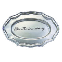 Mud Pie Give Thanks Antique Pewter Rectangular Tray