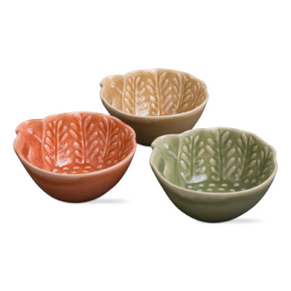 Turkey Feathers Embossed Bowls - 3 Assoted Colours