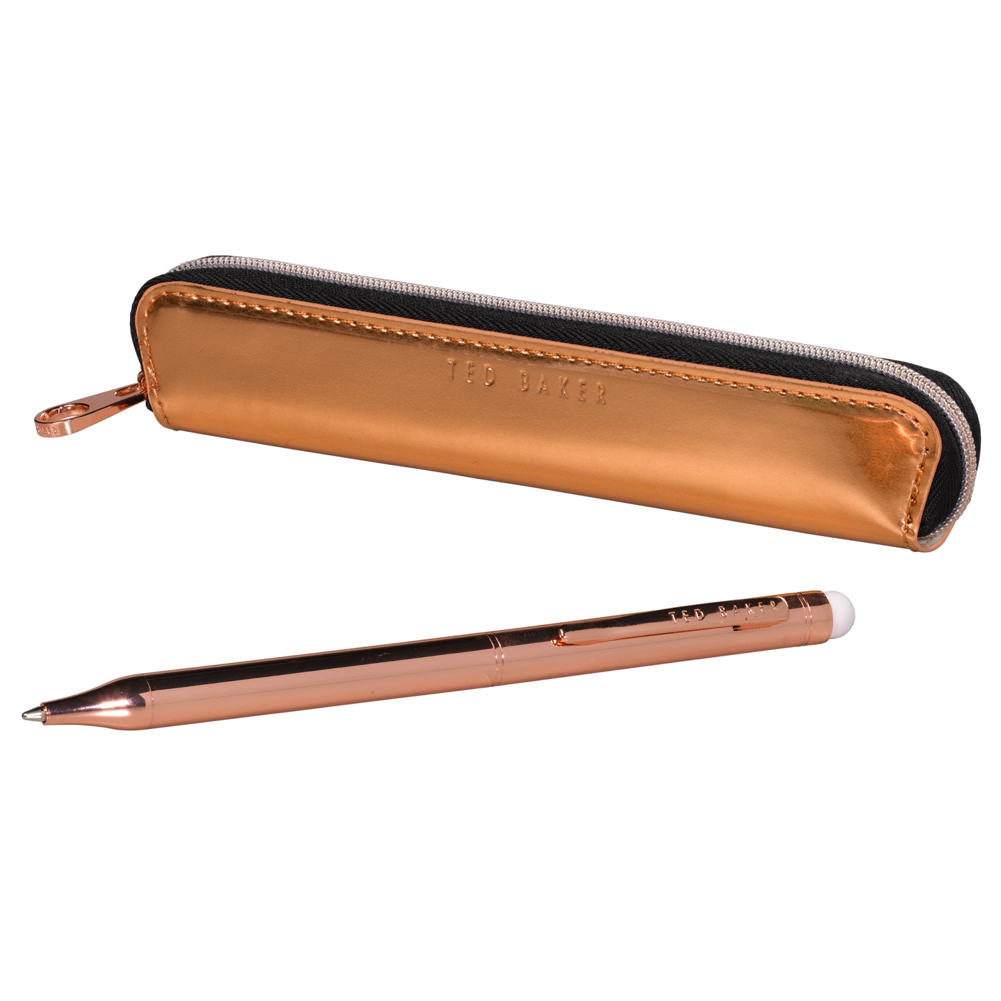 TED BAKER BALLPOINT PEN SET TOUCH SCREEN STYLUS /& CASE ROSE GOLD GIFT BOXED